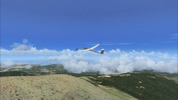FSX+IF Screenshot: Thermal, Cumulous, and Deflected Air Currents