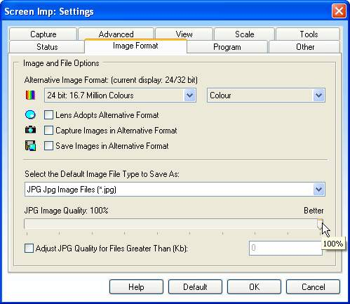 Setting JPG Options